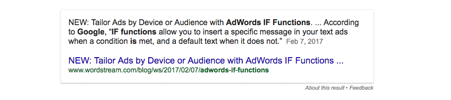 IF function of Google Adwords