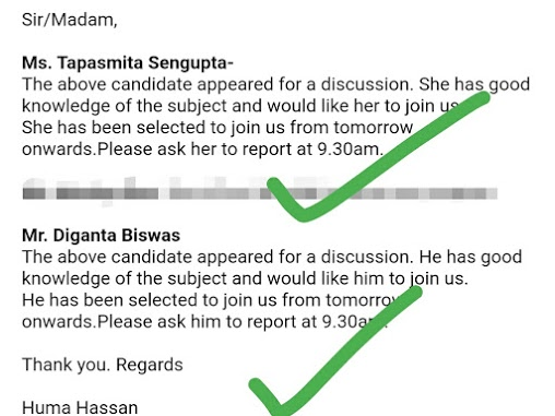 Recruiter's positive feedback about students of Seven Boats
