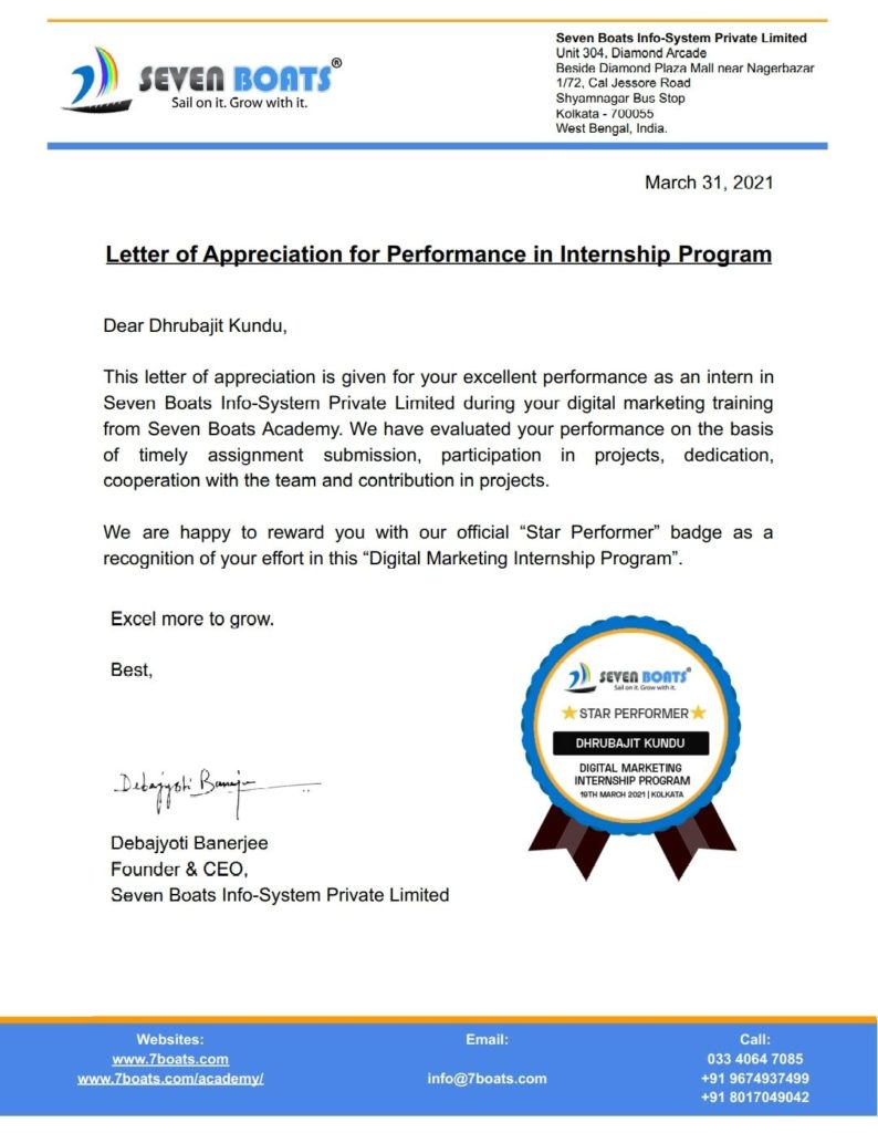Digital Marketing Internship letter and star performer badge from Seven Boats