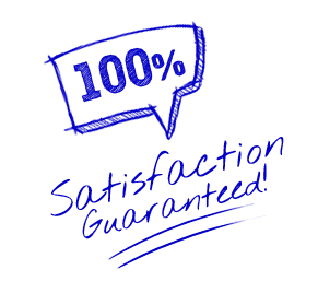Satisfaction Guarantee 100% - Burst Badge Blue