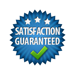 Satisfaction Guaranteed - Burst Badge Blue