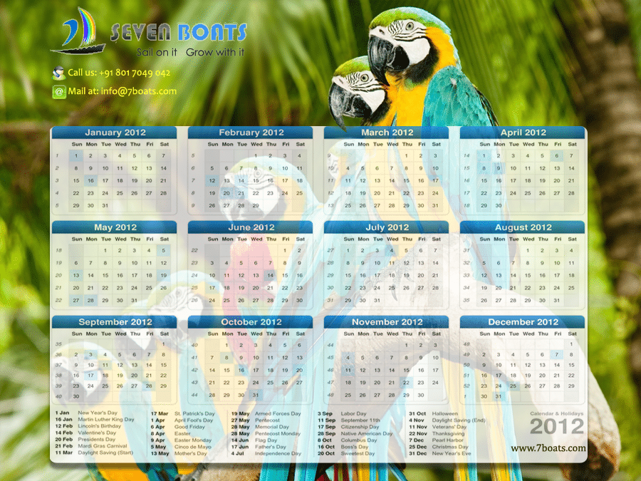 2012 Desktop Calendar Wallpaper, Desktop Calendar Graphics, Desktop Calendar 2012, Parrot Calendar Wallpaper Picture Image